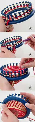 Provo Craft Rib Stitch Hat Created By: Clella Gustin Time to Do: 3 - 5 hours Level: Intermediate on loom Round Loom Knitting, Loom Knitting Stitches, Spool Knitting, Knifty Knitter, Loom Knitting Projects, Loom Crochet, Knit Or Crochet, Circle Loom, Loom Hats