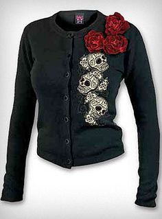 Velvet Touch Skull Cardigan this only comes in a size small :( my boobs arnt even that small.
