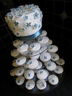 Blue, White & Silver Wedding Cake