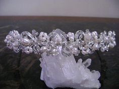 Elegant Ivory/Diamond White Freshwater Pearl and Rhinestone Bridal Headpiece/Headband
