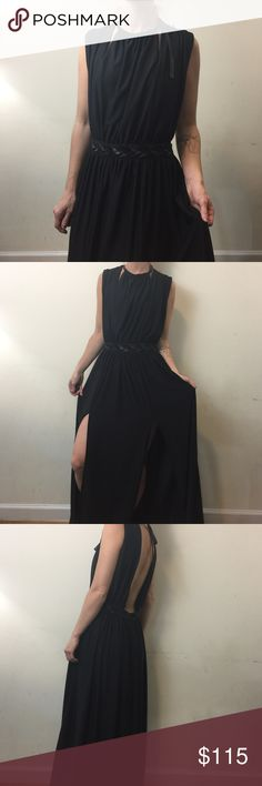 Cecilia De Bucourt x Free People Black Maxi Dress Cecilia De Bucourt x Free People Dress super GREEK and sexy with open slots on either side of the front. High neck and has an open back- size small and special edition rare find super cute!!! Free People Dresses