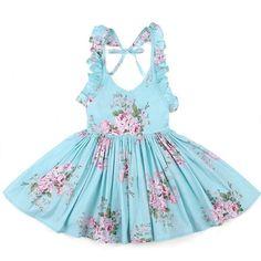 Girls Floral Print Backless Spring and Summer Dress