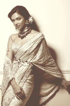 Saree | Yester year elegance Deepika Padukone. Bollywood. Actress.