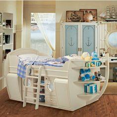 jungenzimmer-Kinderbett-Hochbett-Schiff-Form-Holz-Stauraum