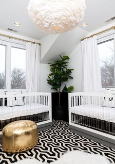 a modern nursery full of glam touches Photography : Hallie Duesenberg Read More on SMP: http://www.stylemepretty.com/living/2016/04/21/pulling-off-a-modern-gender-neutral-nursery-for-twins/