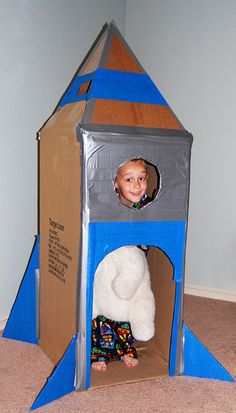 Cardboard rocket - inspired by one I saw on Pinterest, but now I can't find it. :)