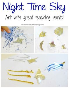 Kids crafts can not only be fun and creative but educational too. Making art provides a ton of opportunities to learn for a preschooler. take a look at this night time theme with art and learning pointers!