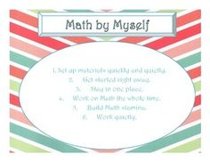 """This set includes 3 Daily 3 MATH Behaviors Anchor Charts (Math by Myself, Math with Someone, and Math Writing) in a Wide Chevron and Bright Multi-Color Theme.  I suggest that they be printed on cardstock and then laminated for longer life.  Be sure to check my other products for matching items, including Seasons, Days of the Week, Months of the Year, more Daily 5 Posters, IPICK/EEKK/Three Ways to Read a Book, CAF, Daily 3 MATH and more!This product was inspired by """"The Daily 5: Fostering…"""