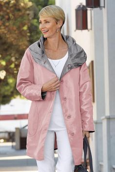 """""""Shop TravelSmith for our Packable Reversible Accordion-Hood Coat. Browse our online catalog for the best in clothing, gear and inspiration for journeys near and far. Raincoats For Women, Clothing Hacks, Fashion Line, Rain Wear, Cool Style, Tommy Hilfiger, Rain Jacket, Windbreaker, Jackets"""