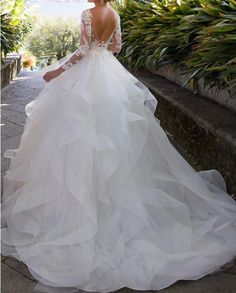 "Elegant Appliques Full Sleeve White Ball Gown Wedding Dresses, Tulle Bridal Dresses - ""Yes, I do"" - Hochzeit Western Wedding Dresses, Sexy Wedding Dresses, Princess Wedding Dresses, Elegant Wedding Dress, Designer Wedding Dresses, Bridal Dresses, Modest Wedding, Wedding White, Ballroom Wedding Dresses"