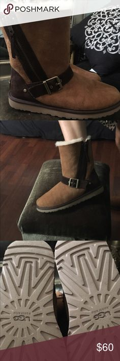 UGG brown and tan boots Size 8, purchased from Nordstrom, maybe worn three times! Unusual style with side zipper and as all UGGs very warm and comfortable! UGG Shoes Winter & Rain Boots