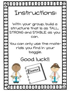 Strong and Stable Structures Culminating Activity (English Version) - Strong and Stable Structures Culminating Activity (English - First Grade Science, Primary Science, Science Activities For Kids, Science Classroom, Teaching Science, Stem Activities, Science Labs, Elementary Teaching, Science Ideas