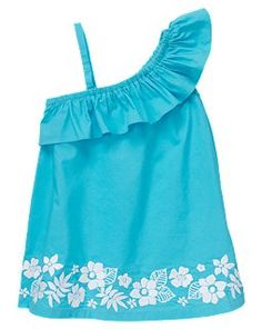 Embroidered One Shoulder Dress  Perfectly pretty for tropical vacation style. Detailed embroidered flowers and ruffly one shoulder design create a breezy fashionable look fit for your beachside princess.