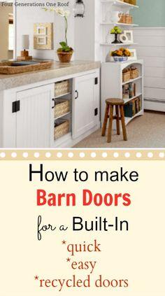 DIY built-in barn doors {tutorial} @Mandy Bryant Bryant Bryant Dewey Generations One Roof