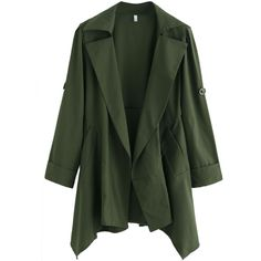 Green Asymmetrical Back Belt Trench Coat (32 CAD) ❤ liked on Polyvore featuring outerwear, coats, green, long coat, asymmetrical coat, long green coat, leather-sleeve coats and trench coat