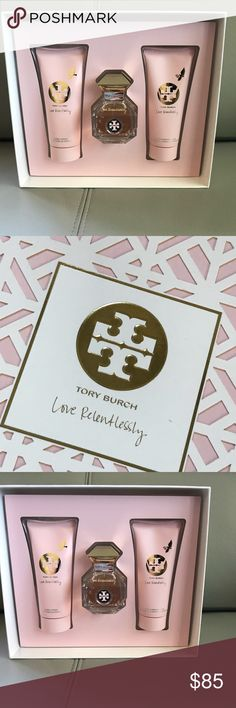 TORY BURCH Love Relentlessly Eau Parfum🌸 LOVE RELENTLESSLY GIFT SET, 3-PIECE            A gift from the heart. The Love Relentlessly collection captures that euphoric feeling of falling in love. A sparkling mix: fierypink pepper and patchouli fuse with dewy rose and addictive amber. Irresistibly presented in an iconic  Pink Pepper, Pink Grapefruit, Sicilian Lemon, Sparkling Pear, Raspberry, Lychee, Rose Essential, Orris, Jasmine Sambac, Patchouli Heart, Amber, Australian Sandalwood…
