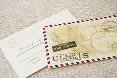 Vintage Air Mail Wedding Invitation (Mexico)
