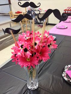 Black and pink moustache birthday party. Inspired by her love of these colors and mustaches we came up with this party. So much fun! 10th Birthday Parties, 1st Boy Birthday, Moustache Party, Second Birthday Ideas, Party Themes, Party Ideas, Fundraising, First Birthdays, Baby Shower