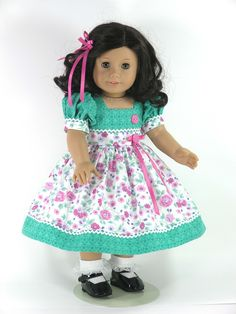 Handmade American Girl Doll Dress - Green, Rose Pink Floral - Exclusively Linda Doll Clothes