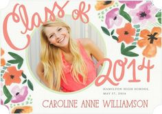 Blossoming Success - Graduation Announcements - simplyput by Ashley Woodman - Coral Pink with ticket trim option. #graduation