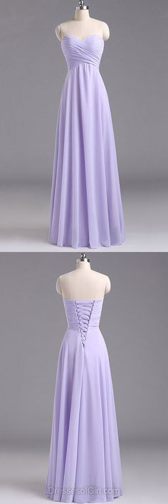 Lavender Bridesmaid Dresses, Chiffon Bridesmaid Dress, Sweetheart Bridesmaid Dresses, Discount Long Bridesmaid Dresses
