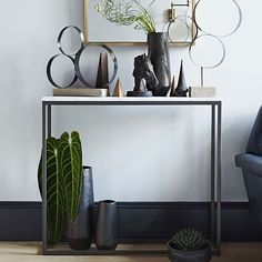 Box Frame Skinny Console - Marble/Antique Bronze   west elm