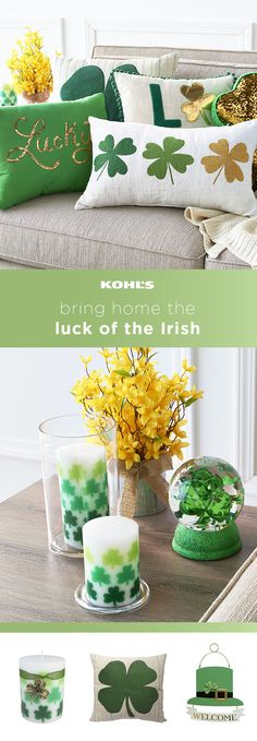 Go green! Add a kiss of Irish flair to your home with St. Patrick's Day decor. Brighten up your living room with Irish-themed throw pillows and keep it comfy with your favorite knit throw blanket. Freshen up your side table with Celtic pillar candles and a fun shamrock globe. A floral arrangement is always a must! Celebrate St. Paddy's Day with Kohl's. #stpaddysday #homedecor