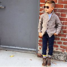 Today in Alonso Mateo, one of the most on the . - Today in Alonso Mateo, one of the most on the block - Looking cool in a cardigan, some shades, and fun socks. Fall Toddler Outfits, Toddler Boy Fashion, Little Boy Fashion, Baby Boy Outfits, Toddler Boys, Kids Fashion, Teen Boys, Boys Christmas Outfits, Little Boy Outfits
