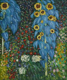 Farm Garden With Sunflowers 1905 Oil Painting by Gustav Klimt