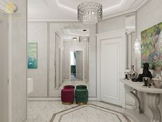 Дизайн интерьера коридора в двухкомнатной квартире 81 кв.м в стиле неоклассика с элементами ар-деко5 Home Kitchens, Oversized Mirror, Sweet Home, Projects, Furniture, Home Decor, Log Projects, Blue Prints, Decoration Home
