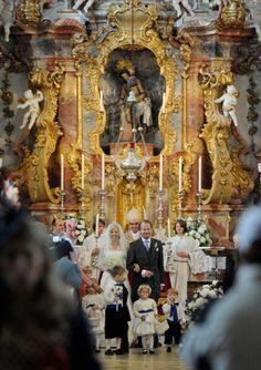 Princess Felipa von Bayern and Christian Dienst wedding at Wieskirche on 12 May 2012 in Steingaden, Germany