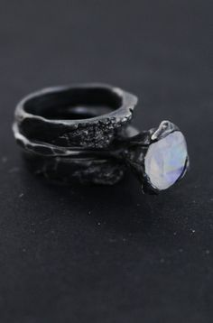 CONE RING(MOONSTONE) AND BIRCH RING SET