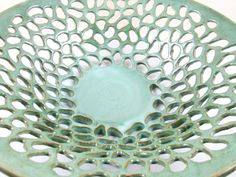 Pottery fruit bowl, Large decorative lace bowl, seafoam green- (Made to order) via Etsy