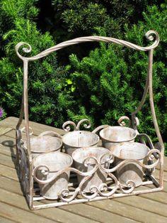 Six Pot Herb Planter - Aged Metal
