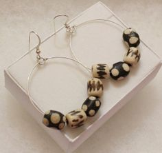 African Bone Bead Earrings Tribal Earrings Sterling by ColorSquare, $38.90