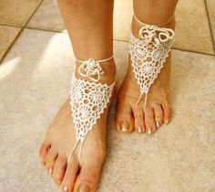Ecru Cotton Crochet Barefoot Sandals Bridal Barefoot by nezoshop, $14.00
