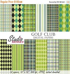 70% OFF  Green Papers Golf Digital Papers Argyle and Plaid