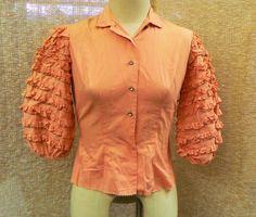Beautiful vintage 1950's Billy-Dee of California peach pink flamenco style ruffled sleeve button up blouse shirt top size medium 8 10 (44.95 USD) by MSHabitatForHumanity