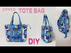 DIY Zipped tote bag/Tote bag tutorial/실용적인 토트백 만들기/가방만들기 - YouTube Bag Patterns To Sew, Sewing Patterns, Sewing Tutorials, Sewing Projects, Diy Tote Bag, Handmade Bags, Bag Making, Diaper Bag, Shopping Bag