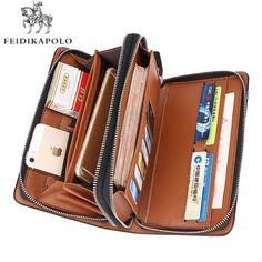 비즈니스 남성 지갑 긴 디자이너 더블 지퍼 가죽 남성 지갑 브랜드 클러치 편리한 가방 럭셔리 지갑 carteira Masculina