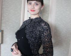 Bolero negro manga larga Crochet Bolero corto por KnittedSmiles