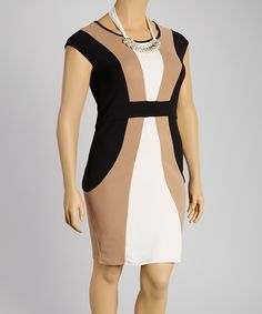 Another great find on #zulily! Spin Black & Tan Color Block Dress & Necklace - Plus by Spin #zulilyfinds