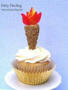 Olympic Torch Cupcake Toppers olymp parti, cupcakes, party snacks, cupcake party, olymp torch, olympic crafts, olymp cupcak, cupcake toppers, themed parties