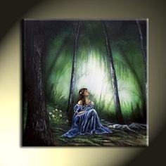 Original Woman In Blue Dress Landscape Artwork by sherryarthur, $325.00