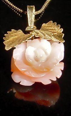 18kt Italian Carved Angel Skin Coral Rose Pendant