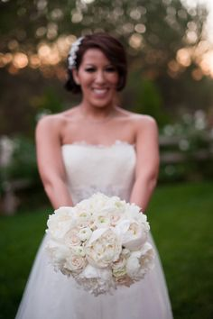 White peony, rose, and ranunculus bouquet- All my FAVORITE flowers!! photo by Emma + Josh