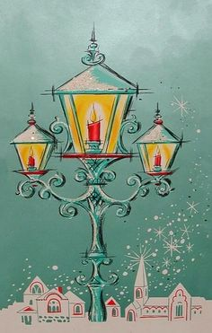 Old Christmas Post Сards — Lanterns, 1950's (457×720)