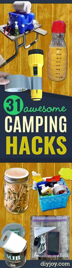 DIY Camping Hacks - Easy Tips and Tricks, Recipes for Camping - Gear Ideas, Cheap Camping Supplies, Tutorials for Making Quick Camping Food, Fire Starters, Gear Holders and More http://diyjoy.com/diy-camping-hacks