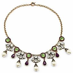 Noble Grön Crystal White Pearl Pendant Alloy Brons Halsband