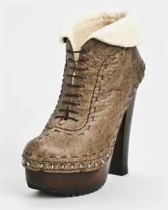 Prada Genuine Leather Lace-Up Booties